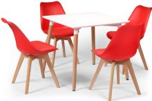Toulouse Dining Set  - 80cms Square White Table & 4 Red Chairs